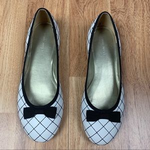 Nine West Leather Quilted Bow Ballet Shoes